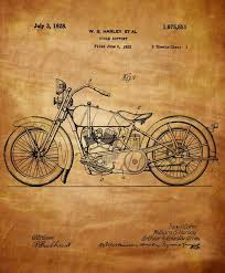 Harley Davidson Motorcycle Patent 1925 Vintage Digital Art Image Download Home Decor