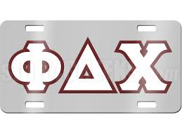 Phi Delta Chi License Plate with White and Maroon Letters on