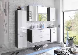 manhattan badezimmer set 5 tlg grau weiß hochglanz
