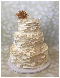 Frosted Fantasies Wedding Cakes Lace Cake Gold Ruffle Rustic In MD