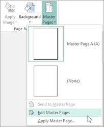 Screen Shot Of The Edit Master Pages Drop Down In Publisher