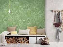 designtapete mit farnblatt design grün weiß