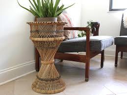 Rattan Pedestal Plant Stand Holder Boho Beach Decor by Kollektive
