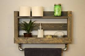 Rustic Heated Towel Rack Wall Mounted With Shelf