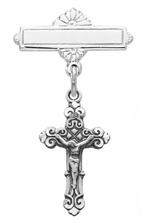 "McVan 1"" Sterling Silver Crucifix Baby Bar Pin"