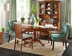 casual french country dining room with 2 pieces cappuccino legs