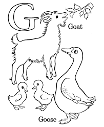 Coloring Pages Alphabet G For Goat And Goose