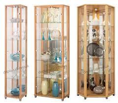 home beech glass display cabinet single corner display