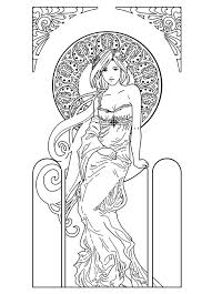 Free Coloring Page Drawing Woman Inspiration Art Nouveau