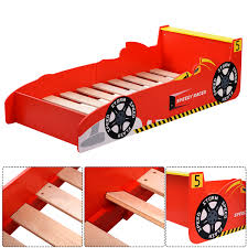 Costway New Kids Race Car Bed Toddler Bed Boys Child Furniture Red