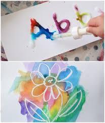 Salt And Glue Painting Wax Resist