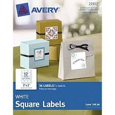 Avery Print To The Edge 2quotx 2quot White Square