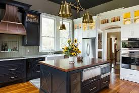 Full Size Of Kitchen Dark Blue Island And Cabinets Modern Farmhouse Side By