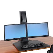 Multiple Monitor Standing Desk by Ergotron 33 407 085 Workfit Sr Dual Standing Desk Workstation