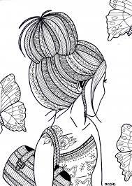 Free Coloring Page For Adults Girl With Tattoo Gratis Kleurplaat Voor Volwassenen Meisje