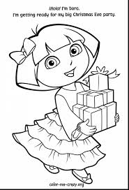 Surprising Dora Christmas Coloring Pages Printable With And To Print