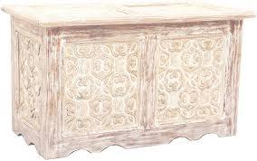 orientalische truhe kiste aus holz ceyda 80cm groß in weiß vintage sitzbank mit aufbewahrung für den flur aufbewahrungsbox mit deckel im bad