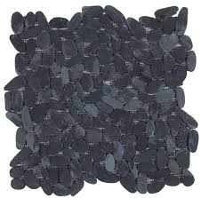 mosaic tile usa bati orient pebble interlocking black matte sliced