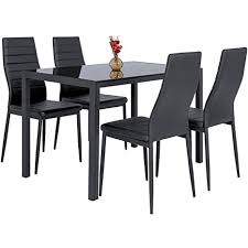 Best Choice Products 5 Piece Kitchen Dining Table Set W Glass Top And 4 Leather Chairs