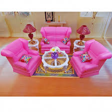 Barbie Fashion Living Room Set by Room Sofa Table Lamp Furniture Play Set For Barbie Monster High