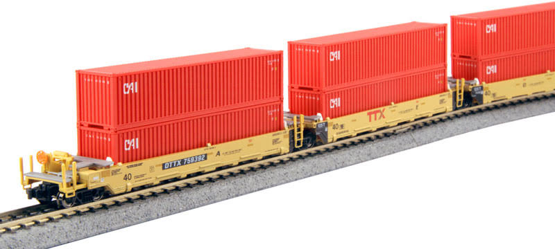 Kato N 1066193 Gunderson Maxi-i 5-Unit Double-Stack Well Car with 10 40' Containers, ttx #759392