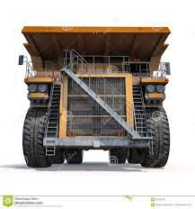 Large Haul Truck Ready For Big Job In A Mine. Front View. On White ...