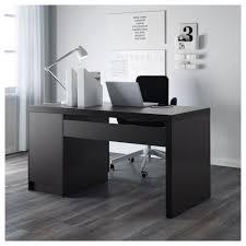 malm desk black brown ikea