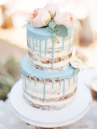 This Is Cute For Rustic Romantic Baby Blue Drip Cake