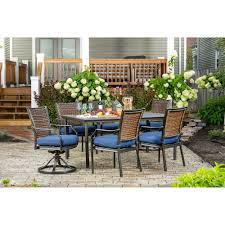 Hanover Mercer 7-Piece Patio Dining Set In Navy Blue With 4 Dining Chairs,  2 Swivel Rockers, And A 40 Fairy Contemporary Fabric Ding Chairs Set Of 2 Navy Blue Shelby Chair In Channel Tufted Velvet By Meridian Fniture Hanover Mcer 5piece Patio With 4 Cushioned And A 40inch Square Table Mercdn5pcsqnvy Colston Silver Leaf Including Brookville Harley Traditional Microfiber Details About Bates New Opal Room Gold William