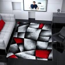 designer teppich wohnzimmer grau rot modern dicht gewebt mit konturenschnitt i9445