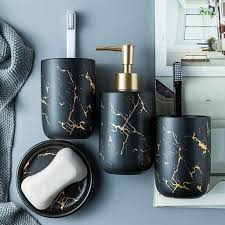 selm edles bad accessoires set 4 teiliges stilvolles badzubehör mit marmor