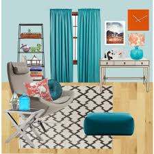 Teal And Orange Living Room Decor by Blue Orange And Neutrals Living Room Polyvore