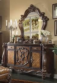 acme 21105 versailles cherry oak 5 drawer 2 door dresser and