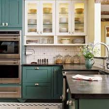 Sage Green Kitchen Cabinets With White Appliances by Teal Kitchen Cabinets Home Living Room Ideas