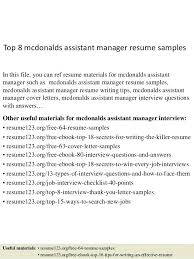 Mcdonalds Cook Resume Sample Top 8 Assistant Manager Samples In This File You Can Ref Materials Experience