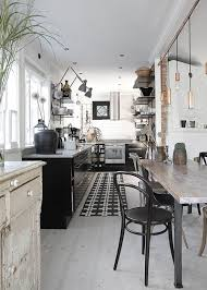 Black And White Design Industrial Interior Kitchen Rustic Scandinavian