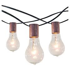 10ct string lights with copper socket collar with black wire