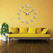 Digital Mirror Big Wall Clock Modern Living Room Quartz Metal Clocks F YanivStore