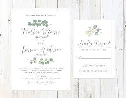 Eucalyptus Wedding Invitation Rustic Watercolor Greenery