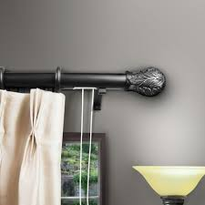 Decorative Metal Traverse Curtain Rods by Rod Desyne 84 In 156 In Leaf Decorative Traverse Rod In Black