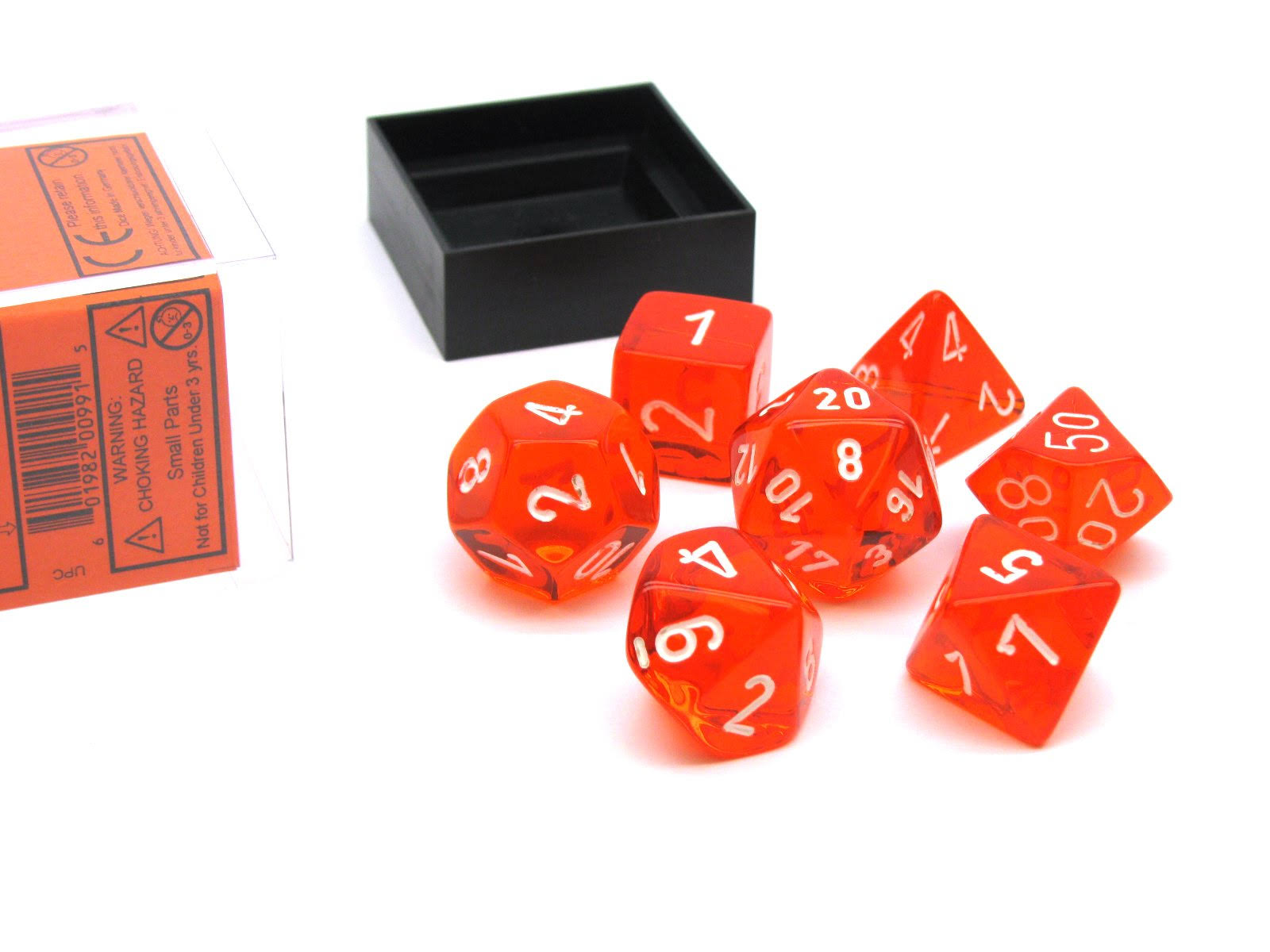Chessex 7 Set Polyhedral Dice Translucent Orange White CHX23073