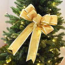 HAOCHU 4Pcs Lot Gold Edge Solid Ribbon Bow Ornament For Christmas Tree Topper Market Window