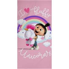 DESPICABLE ME DAYDREAM FLUFFY UNICORN AGNES TOWEL COTTON PINK KIDS