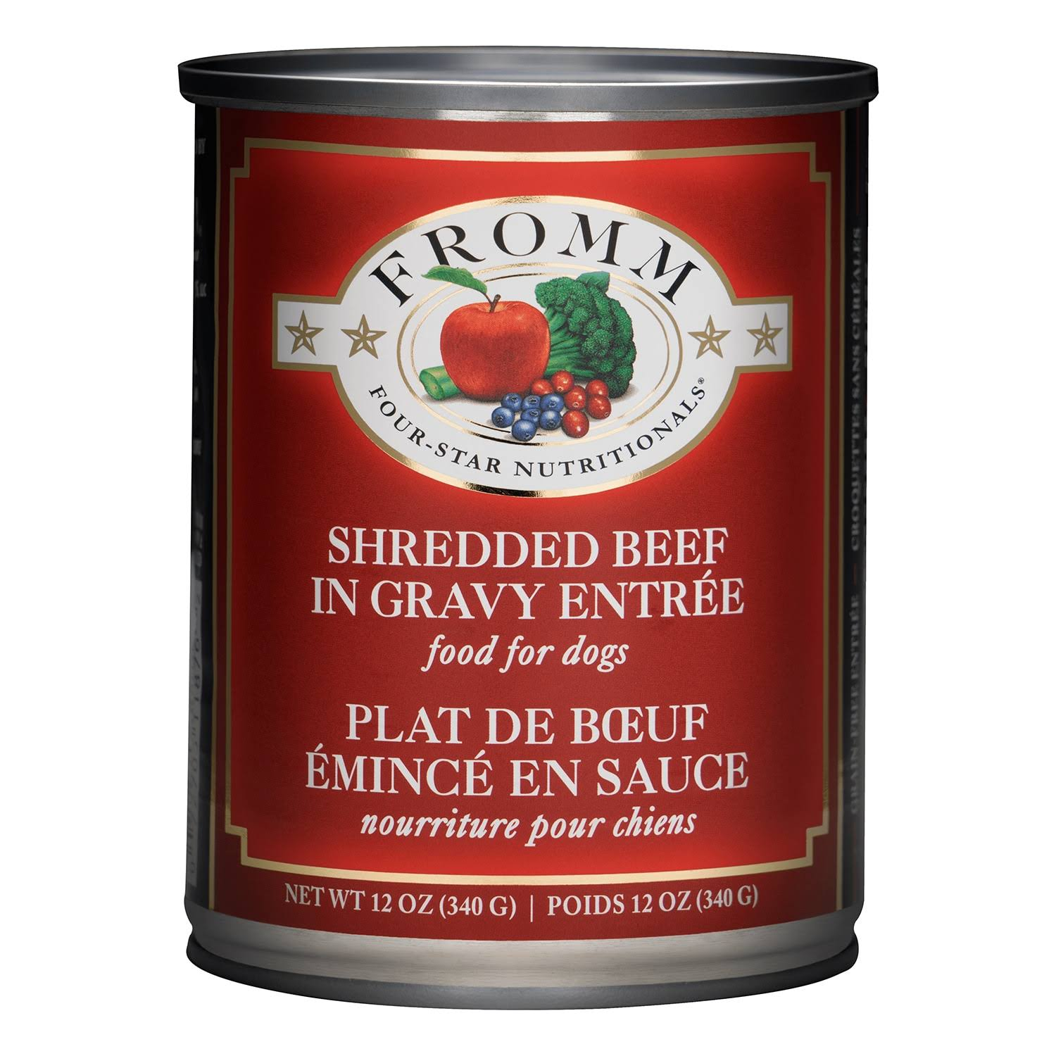 Fromm Four Star Shredded Beef in Gravy Entree Canned Dog Food 12oz