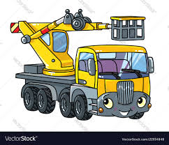 Funny Telescopic Boom Lift Car Or Truck Royalty Free Vector