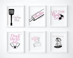 Kitchen Printable Wall Art Posters Set Of 6 Size 8x10 Decor