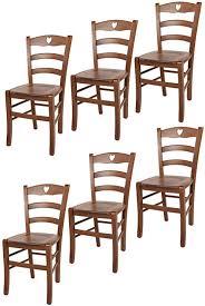 tommychairs 6er set stühle cuore für küche und esszimmer robuste struktur aus buchenholz in der farbe helles nussbraun lackiert und sitzfläche aus