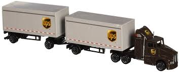 100 Ups Truck Toy Bruder Daron UPS Die Cast Tractor With 2 Trailers 12 Wheels