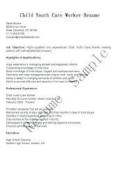 Sample Child Care Resume Youth Worker Job Description Direct For