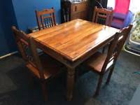 Solid Pine Oak Dining Table And Chairs GBP60